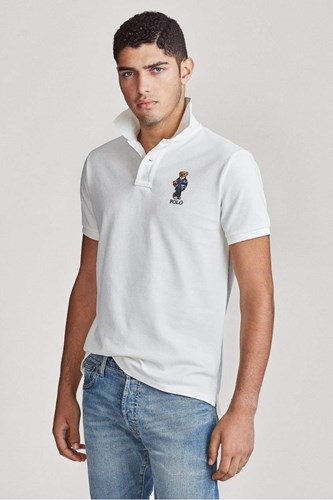 חולצה פולו Polo Ralph Lauren Custom Slim Fit Bear Basic בלבן